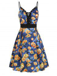 Halloween Sunflower Pumpkin Lace Up Cami Dress -