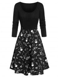 Halloween Skull Skeleton Butterfly Print Dress -