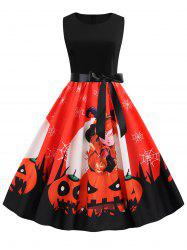 Halloween Pumpkin Spider Web Print Belted Dress -