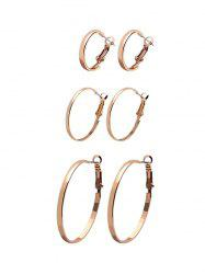 3Pairs Glossy Circle Hoop Earrings Set -