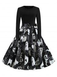 Halloween Long Sleeve A Line Dress -