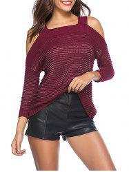 Cold Shoulder Three Quarter Sleeves Sweater -