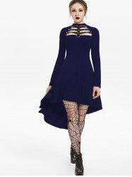 Embellished Faux Leather Insert Raglan Sleeve High Low Gothic Dress -