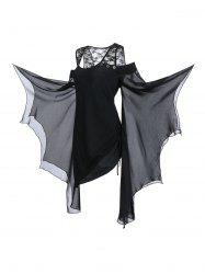 Plus Size Butterfly Sleeve Open Shoulder Halloween Gothic T-shirt -
