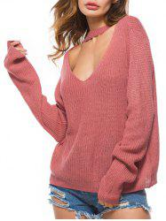 Choker Cut Out Knitted Casual Sweater -