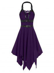 Buckle Strap Cut Out Lace-up Handkerchief Gothic Dress -