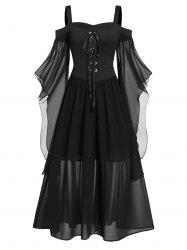 Plus Size Butterfly Sleeve Lace Up Gothic Halloween Dress -