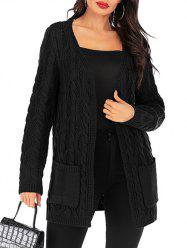 Open Cable Knit Pocket Tunic Cardigan -