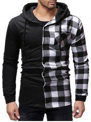 Contrast Plaid Patch Pockets Hooded Shirt -