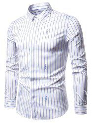 Letter Graphic Stripes Print Hidded Button Shirt -
