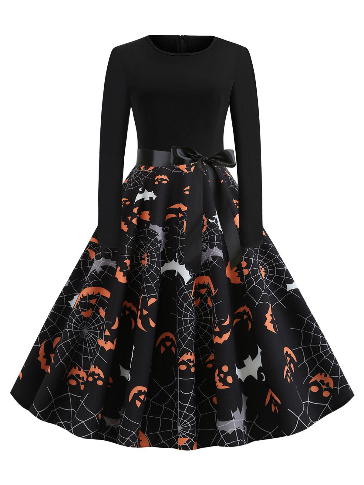 Chic Halloween Pumpkin Face Bat Print Long Sleeve Dress