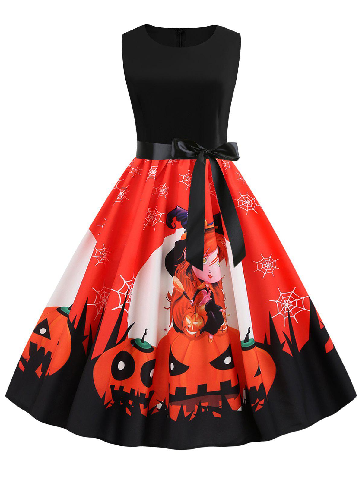 Sale Halloween Pumpkin Spider Web Print Belted Dress