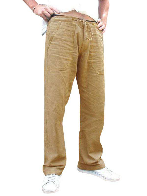 Affordable Plain Drawstring Casual Straight Pants