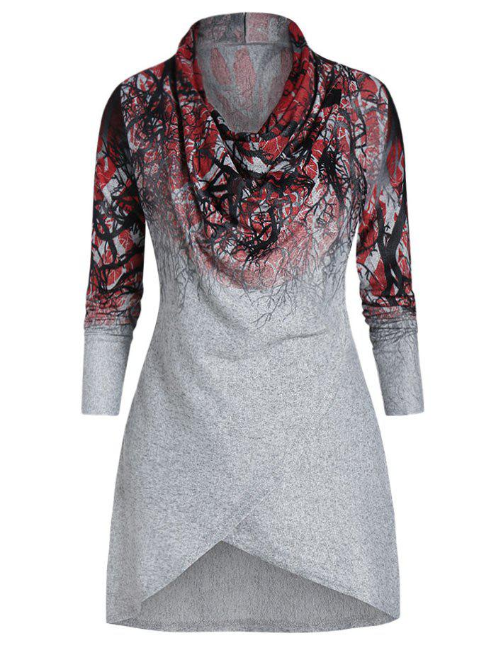 New Long Sleeve Cowl Neck Printed T Shirt