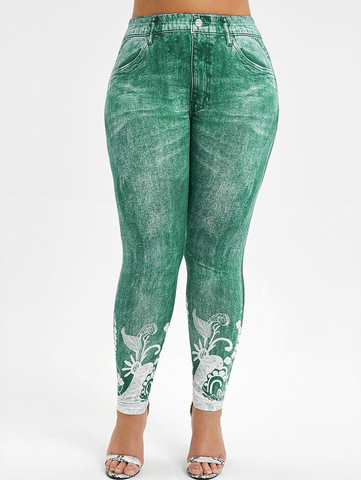 Fancy High Waisted 3D Printed Plus Size Jeggings