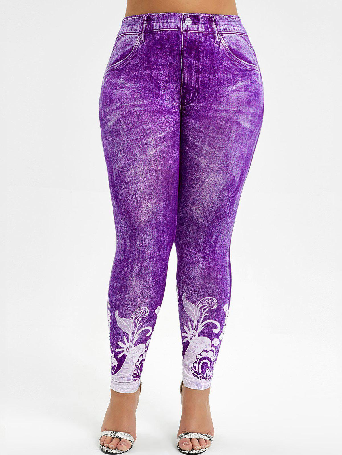 Shop High Waisted 3D Printed Plus Size Jeggings