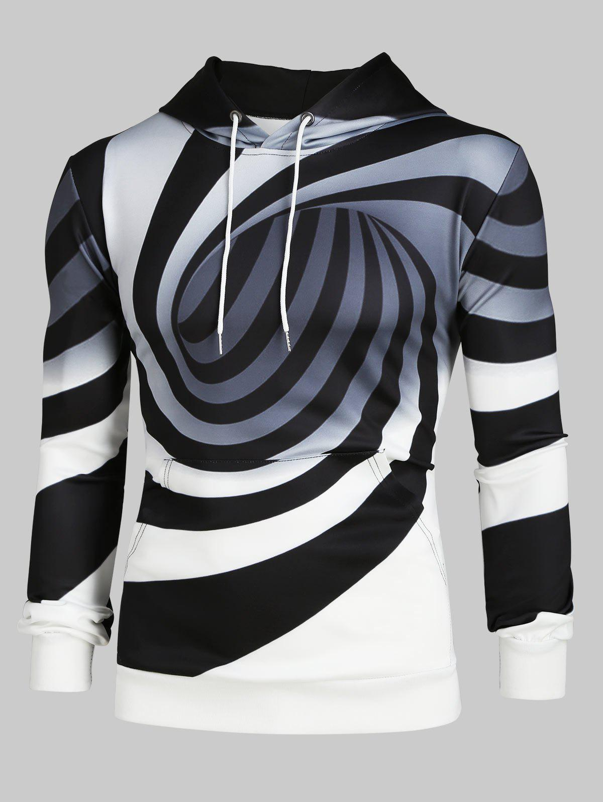 Cheap Spiral Print Long Sleeves Drawstring Hoodie
