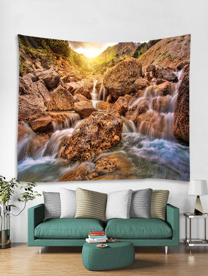 Latest Mountain Stone Stream Print Tapestry Wall Hanging Art Decoration