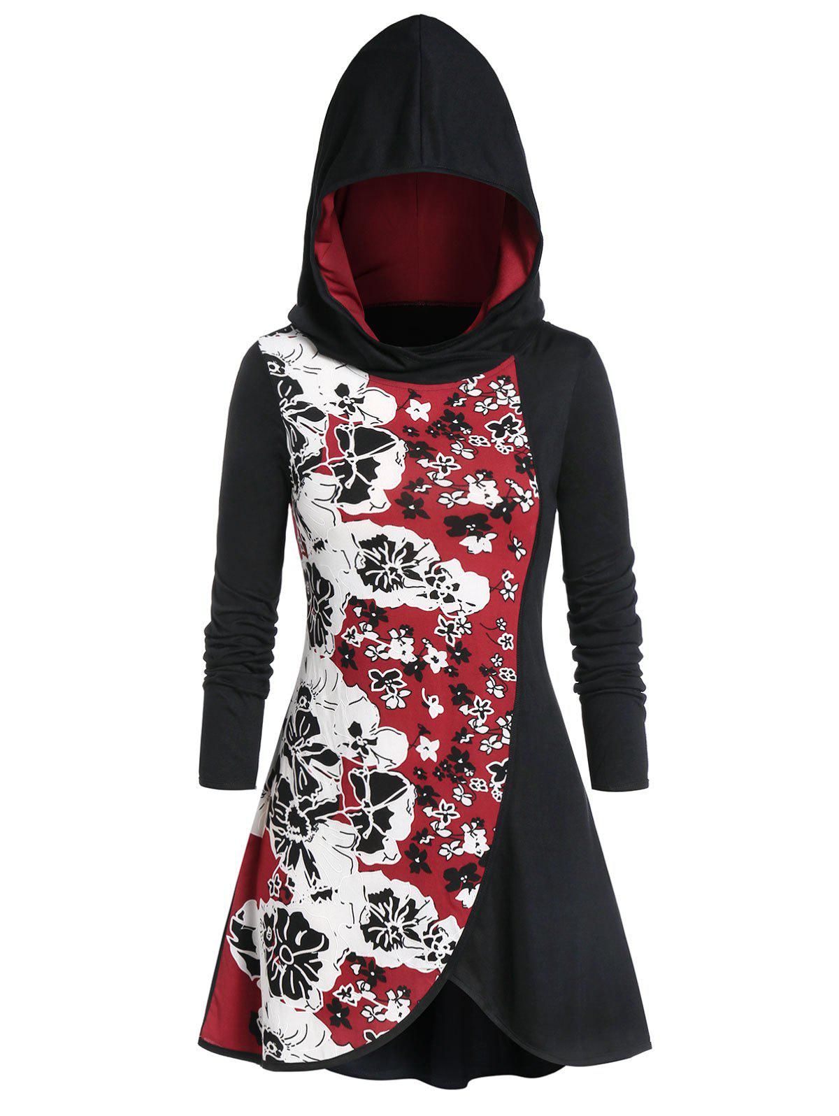 Plus Size Hooded Spliced Floral Print T-shirt фото