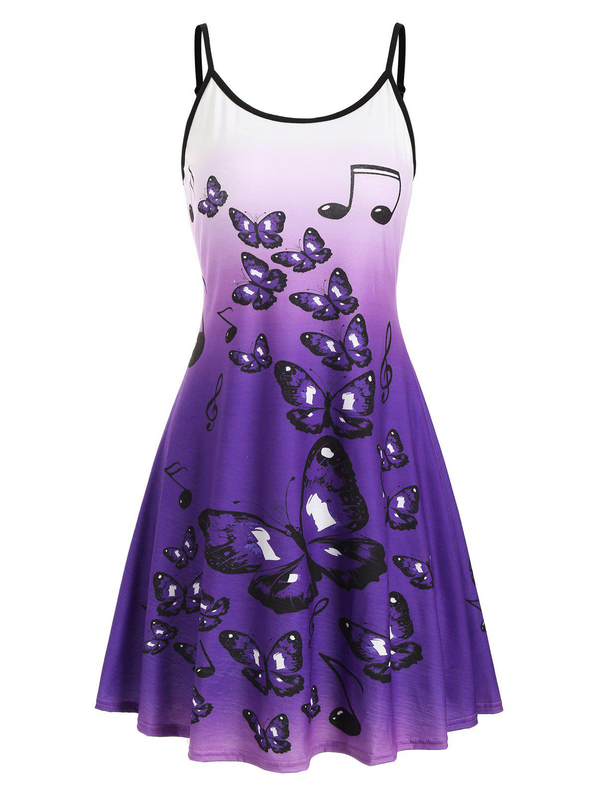 Trendy Ombre Butterfly Print Cami Mini Dress