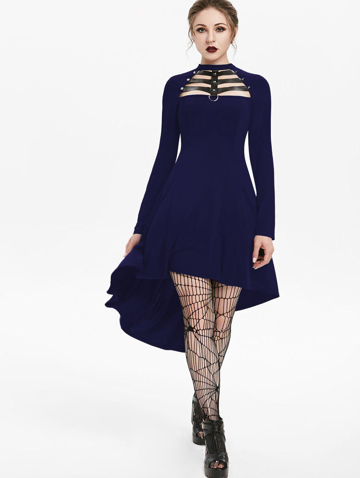 Outfit Embellished Faux Leather Insert Raglan Sleeve High Low Gothic Dress
