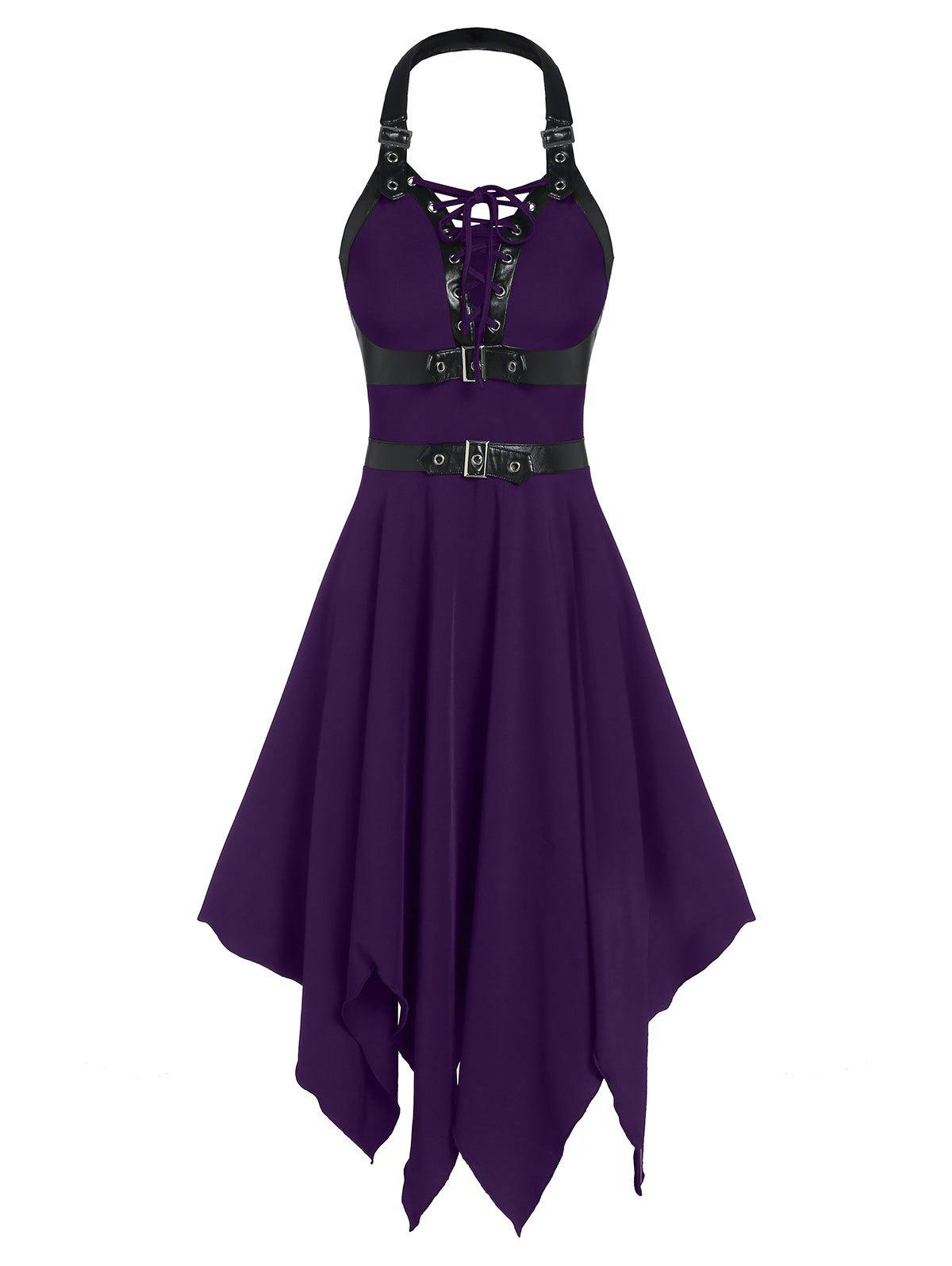 Outfit Buckle Strap Cut Out Lace-up Handkerchief Gothic Dress
