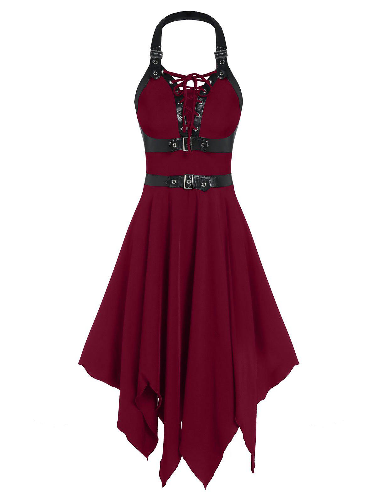 Chic Buckle Strap Cut Out Lace-up Handkerchief Gothic Dress