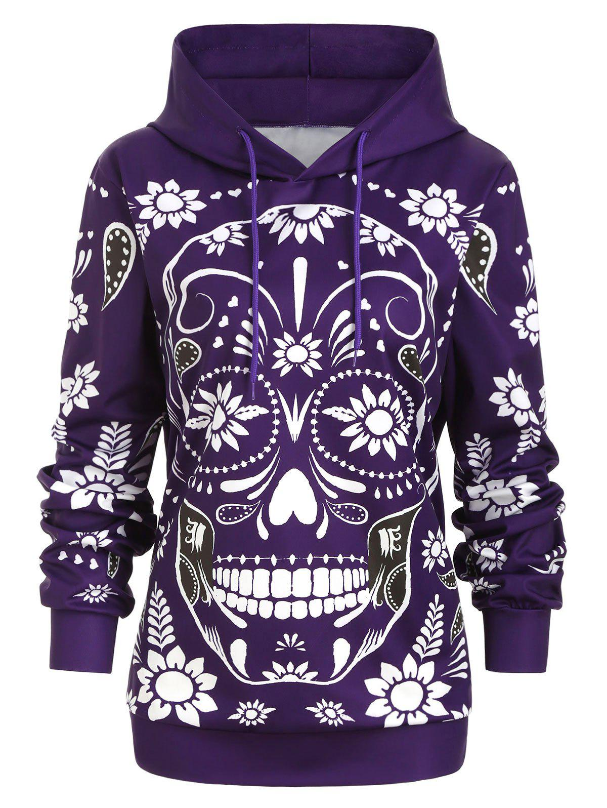 Fashion Plus Size Floral Skull Print Halloween Hoodie