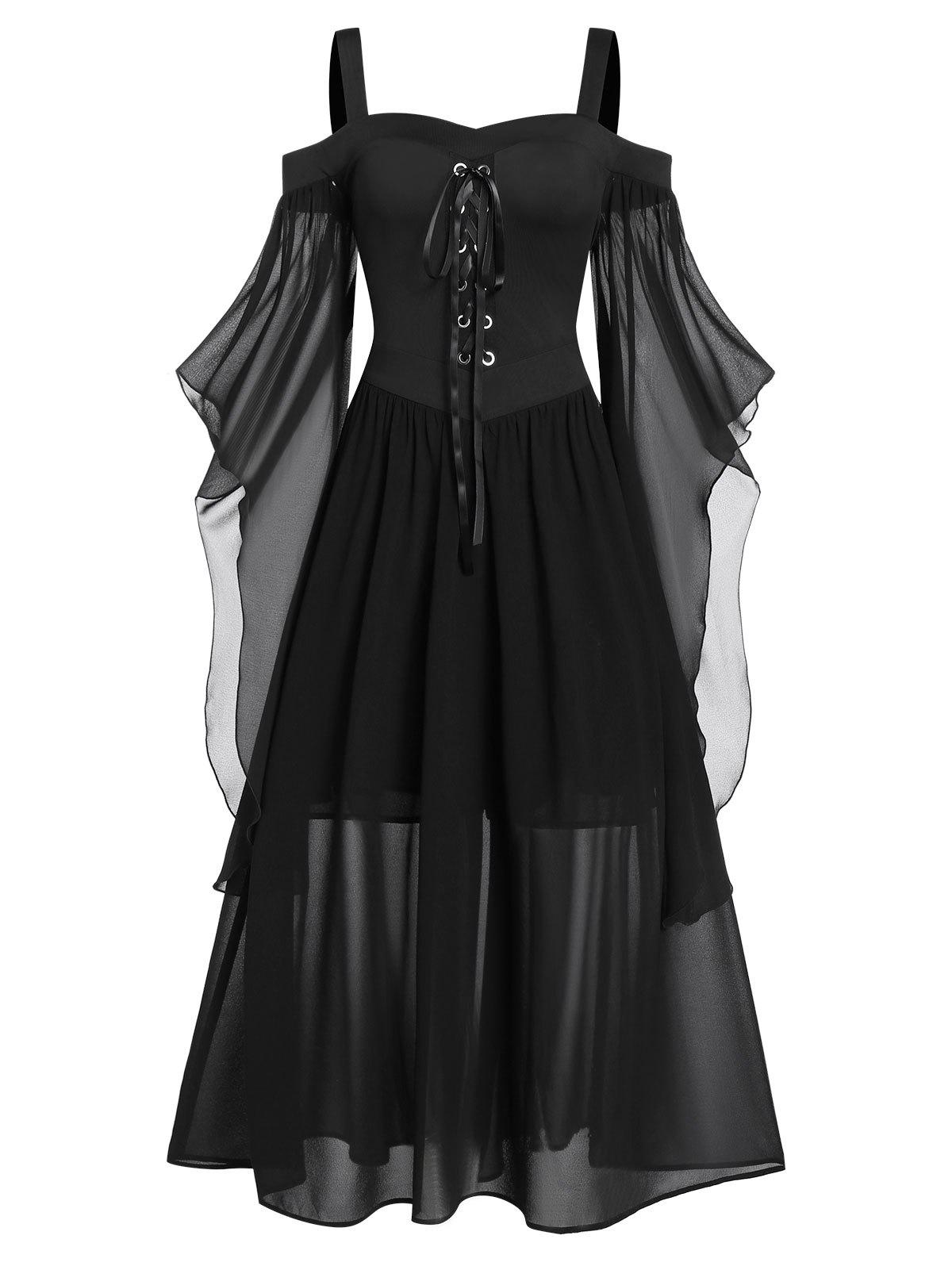 Affordable Plus Size Butterfly Sleeve Lace Up Gothic Halloween Dress