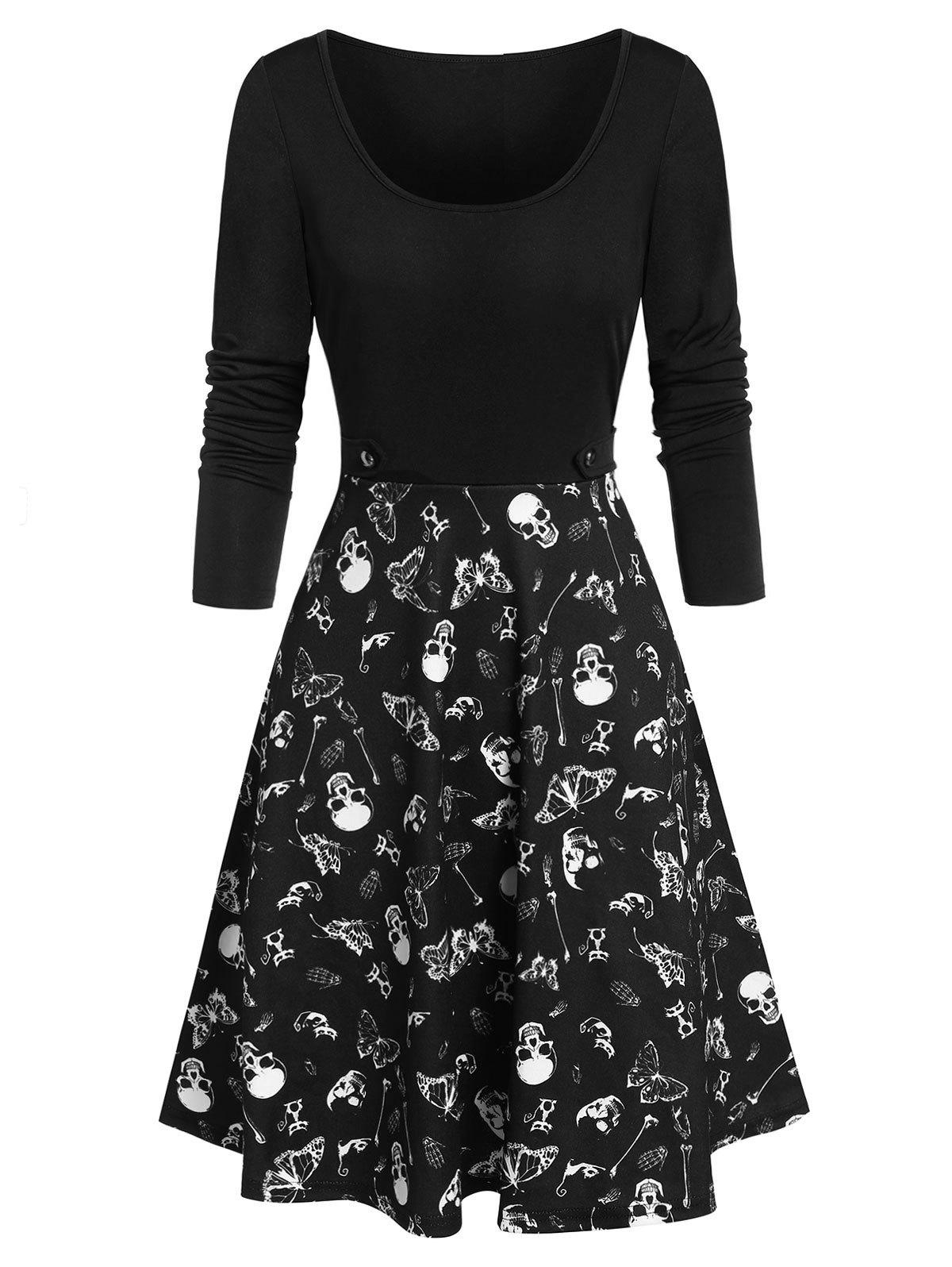 Fancy Halloween Skull Skeleton Butterfly Print Dress