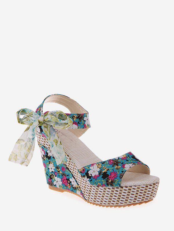Cheap Bowknot Tiny Flower Wedge High Heel Sandals