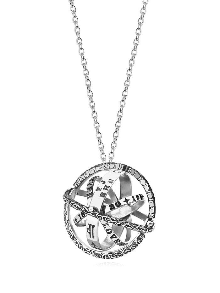 Discount Letter Carved Ball Shape Chain Necklace