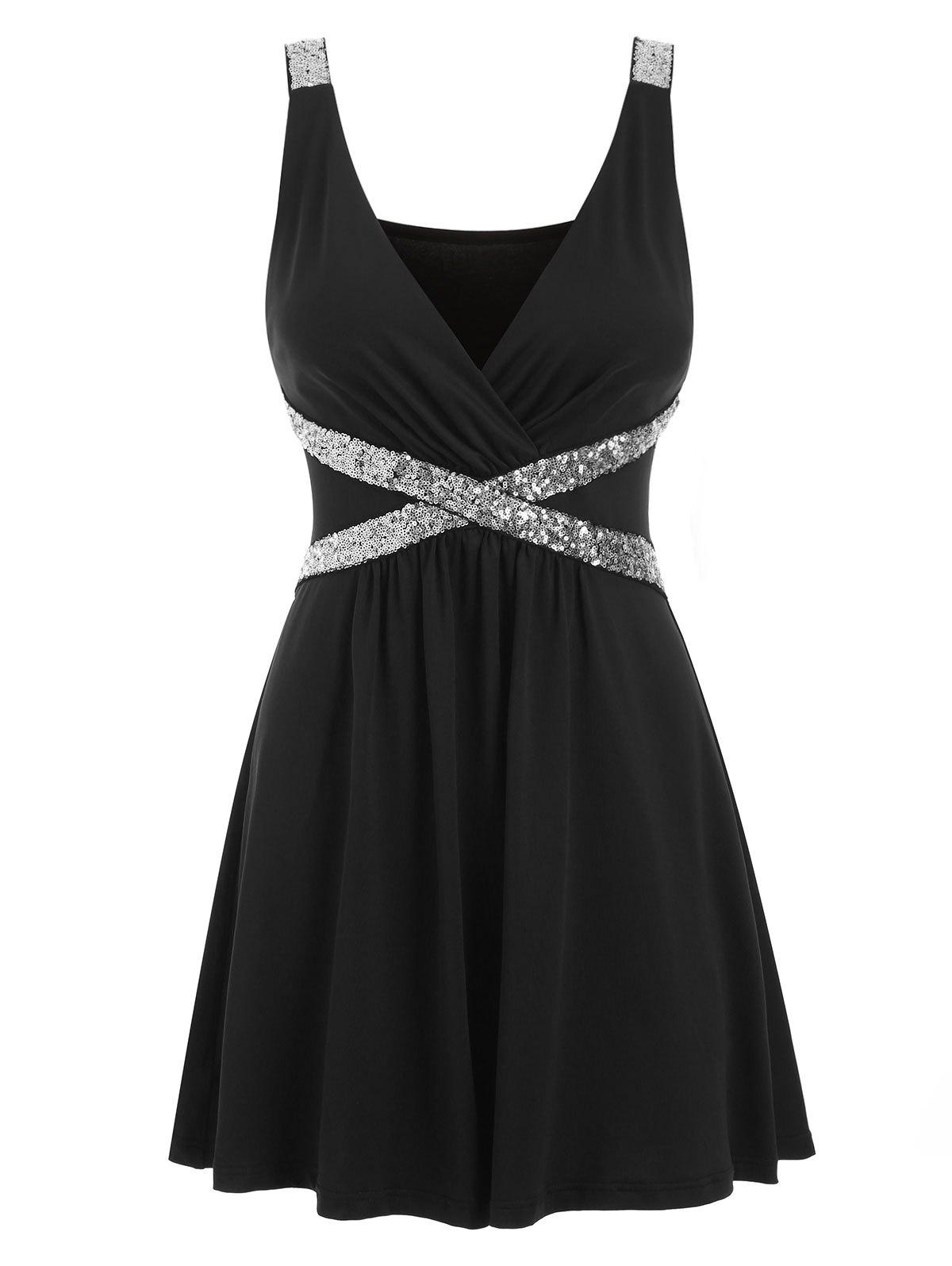 Best Sequined Sleeveless Low Cut Dress