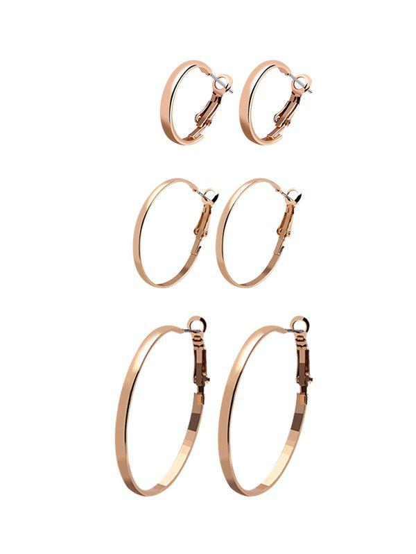 Shop 3Pairs Glossy Circle Hoop Earrings Set