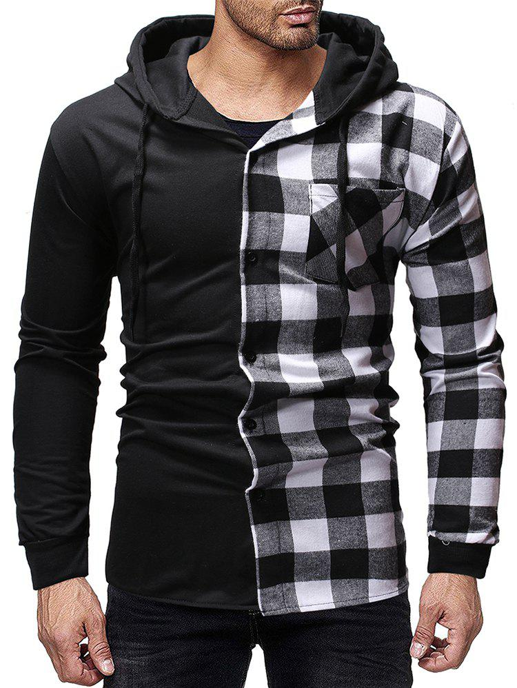 Fancy Contrast Plaid Patch Pockets Hooded Shirt