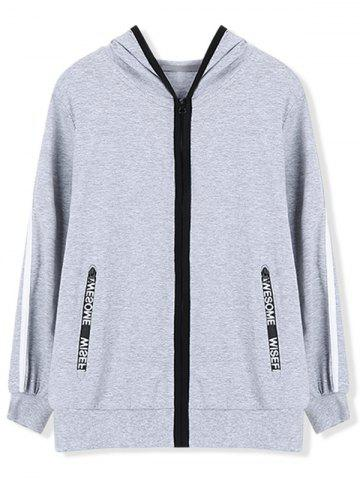 Casual Hoodie with Zip Pocket - GRAY - 150