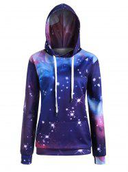 Plus Size Pocket Galaxy 3D Print Pullover Hoodie -