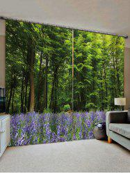 2 Panels Forest Lavender Field Print Window Curtains -
