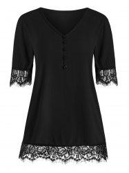 Eyelash Lace Panel Buttons Short Sleeves Blouse -