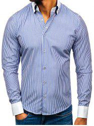 Striped Pattern Button Up Long-sleeved Shirt -