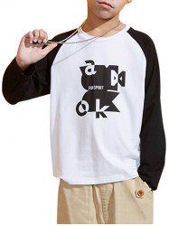 Boys Abstract Letter Graphic Contrast Raglan Sleeve T Shirt -