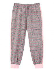 Girls Plaid Print Elastic Waist Jogger Pants -