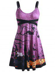 Plus Size Pumpkin Bat Print Grommets Halloween Dress -