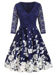 Plus Size Lace Panel Floral Midi Flare Dress -