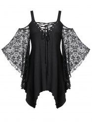 Plus Size Lace See Thru Handkerchief Cold Shoulder Tee -