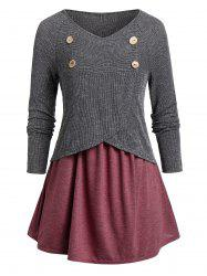 Plus Size Contrast Tunic V Neck Sweater -