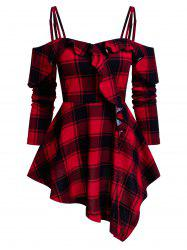 Checked Cold Shoulder Ruffle T Shirt -