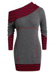 Plus Size Stripe Skew Neck Mini Knitted Dress -