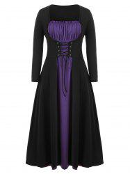 Plus Size Two Tone Lace Up Maxi Halloween Dress -