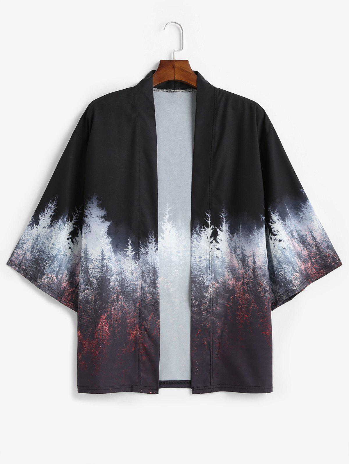 Best Forest Painting Print Casual Kimono Cardigan